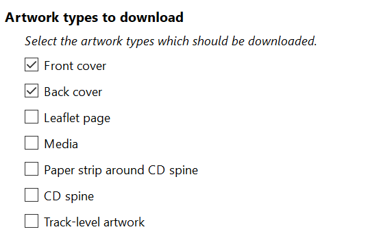 Select the artwork types which should be searched.