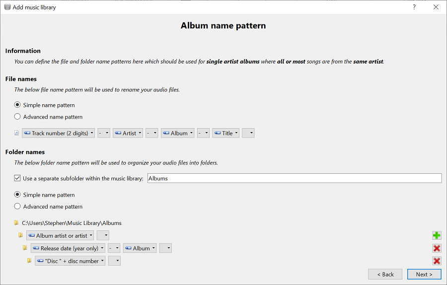 Use different name patterns for single artist albums, compilation albums and single tracks.